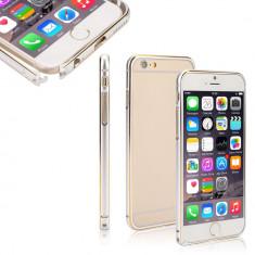 Bumper argintiu cu marine aurie din aluminiu pentru iphone 6 +  plus si folie protectie ecran si cablu date