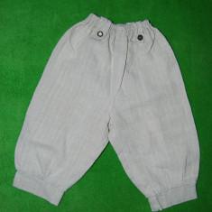 Pantaloni copil mic, din panza (rustic, folcloric, tiroleza, germana), 2 nasturi metal + 2 nasturi imitatie corn cerb, 46 cm lungime, Marime: S, Culoare: Bej