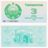 UZBEKISTAN 3 sum 1992 UNC!!! - bancnota asia