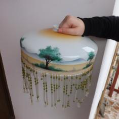 Abajur din sticla, pictat manual si in stare foarte buna.Rereducere!