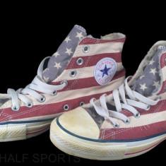 CONVERSE CHUCK TAYLOR ALL STAR SIDE ZIP DISTRESSED STARS & BARS USA FLAG - Tenisi barbati Converse, Marime: 39, 39.5, Culoare: Alb, Textil