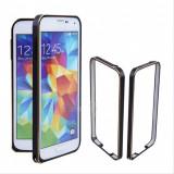 Bumper negru margine discreta aurie din aluminiu pentru Samsung S5 + folie cadou