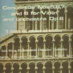 VIVALDI - CONCERTOS NOS 5, 6, 7 AND 8 FOR VIOLIN AND ORCHESTRA OP 9 DIRIJOR: ALEXANDRU HOBAI VIOLONIST: RUDOLF FATYOL, VINIL, electrecord