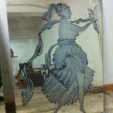 Oglinda realizata prin sablare si pictare manuala