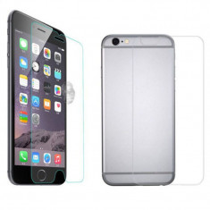 Protectie ecran Folie de sticla 2 in 1 fata/spate Tempered Glass pentru iPhone 4G + cablu date
