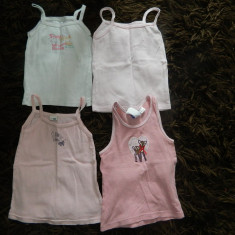Set de patru maieuri pentru fetite, ideale de vara sau de corp, marimea 2-4 ani, Culoare: Roz, Maiouri
