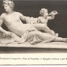CPI (B5185) MUZEUL DE SCULPTURA COMPARATA - PARCUL VERSAILLES, MAGNIER - NYMPHE ET AMOUR, NIMFA SI DRAGOSTE, ARTA,, Necirculata, Fotografie