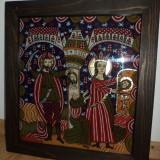 PRET BUN PENTRU..Icoana superba traditionala pictata pe sticla  28 cm cu 29