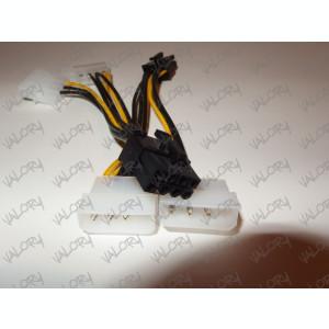 Cablu alimentare adaptor placa video 2x MOLEX la PCI-e 8 pini ( pci express )