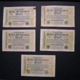 Lot 5. buc  diferite  Germania  10 000 000  mark  1923  august  22  Berlin  (10 milioane).  Cinci variante de serii diferite.