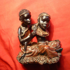 Statueta Arta Africana - Cuplu  tineri - Suvenir , h= 10 cm