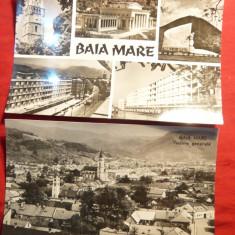 2 Ilustrate Baia Mare, circ. anii '60 - Carte Postala Maramures dupa 1918
