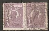 TIMBRE 106l, ROMANIA, 1920, FERDINAND BUST MIC, 1 LEU, EROARE, CLISEU INLOCUIT, PERECHE, CURIOZITATE SPECTACULOASA, ERORI, CURIOZITATI, ECV, ATIPICE