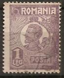 TIMBRE 106u, ROMANIA, 1920, FERDINAND BUST MIC, 1 LEU, EROARE, CULOARE AGLOMERATA PE LATURA DREAPTA, CURIOZITATE SPECTACULOASA, ERORI, ATIPICE, ECV.