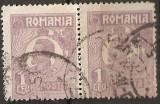 TIMBRE 106n, ROMANIA, 1920, FERDINAND BUST MIC, 1 LEU, EROARE, CLISEU INLOCUIT, PERECHE, CURIOZITATE SPECTACULOASA, ERORI, CURIOZITATI, ECV, ATIPICE