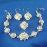 Set bijuterii argint  925 - bratara reglabila + cercei (1.8 cm) + pandantiv