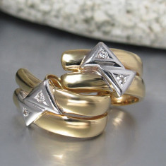 CERCEI cu diamante genial tăiate - 0, 08 ct W - SI -14K - 585 GG - WG...