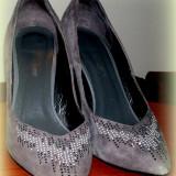 PANTOFI GRI, MEDEEA! MAR.39! - Pantof dama, Piele naturala