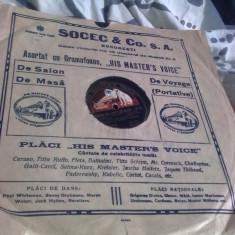 Placa gramofon, stare perfecta, reclama Socec Bucuresti, PROMOTIE!