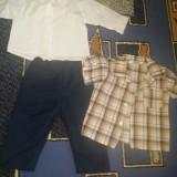 Set botez pantalon +camasa , bonus camasa cu maneca scurta, model pt baieti, marime 6 luni
