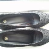 Pantofi eleganti negri dama toc - Pantof dama ASH, Culoare: Negru, Marime: 38, Piele naturala