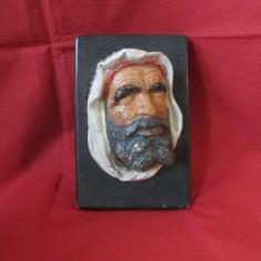 Figurina veche din gips, in relief - portret arab, figurina de ipsos in relief, statueta veche, tablou vechi gips - Arta Ceramica