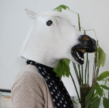Masca cal WHITE alba latex petrecere Halloween Petreceri tematice Cosplay +CADOU, Marime universala, Alb, Auriu, Maro, Negru