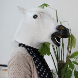 Masca cal WHITE alba latex petrecere Halloween Petreceri tematice Cosplay +CADOU - Masca carnaval, Marime: Marime universala, Culoare: Auriu, Maro, Negru