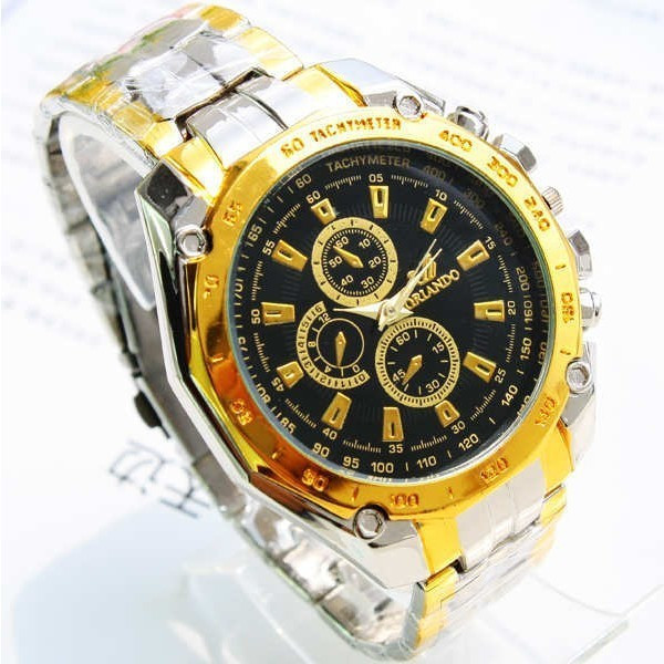 Ceas Quartz Casual Elegant ORLANDO Gold-Silver Chronomat   CALITATE GARANTATA   CADOUL IDEAL PENTRU CEI DRAGI   CEL MAI MIC PRET GARANTAT