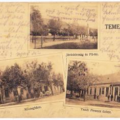 Recas Timisoara Timis carte postala multipla circulata in 1914 - Carte Postala Banat 1904-1918
