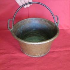 Caldare cupru, ceaun, vas de cupru vechi, caldarusa cupru, vas vechi arama - lucrat manual - Metal/Fonta