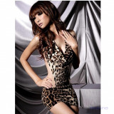 Lenjerie Lady Lust Sexy 119 Babydoll Rochita Leopard Animal Print Bikini Tanga, Din imagine, Masura unica