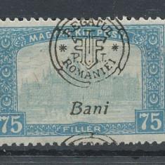 1919 ROMANIA Emisiunea Oradea parlament 75 B eroare sursarj defect f. deplasat - Timbre Romania, Nestampilat