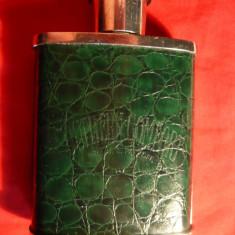 Sticluta de bautura -de dama - inox ,piele ,sticla  , h= 9,3 cm