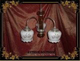Lustra vintage trilux (trei lumini) din aliaj staniu