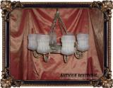 Lustra vintage opt brate, octolux (opt lumini) din arama si fier forjat, Lustre