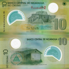 NICARAGUA 10 cordobas 2007 (2012) polymer UNC!!! - bancnota america