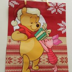 Plasa medie de cadouri, model de iarna, Winnie the Pouh, punga cadouri, pungi cadouri, calitate! - Ornamente Craciun