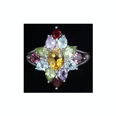 INEL DAMA ARGINT 925 CU GRANAT, TOPAZ, CITRIN, PERIDOT (THAILANDA) - Inel argint