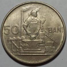 50 Bani 1955 Romania a UNC, Luciu de batere - Moneda Romania