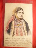 Ilustrata- Litografie- Sarboaica in costum national , circulata 1909