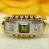 585 inel de aur galben cu 0, 45 carate turmalina SI diamantE antic ANUL 1900 - Inel aur, Carataj aur: 14k