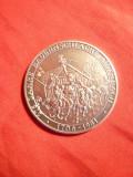 Medalie Germana 275 Ani Batalia Aidenbach ,argint marcaj 800 pe cant ,d= 3,5 cm