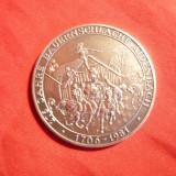 Medalie Germana 275 Ani Batalia Aidenbach, argint marcaj 800 pe cant, d= 3, 5 cm