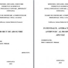 LUCRARE DE LICENTA FARMACIE/AMF – POTENTIALUL ANTIBACTERIAN SI ANTIFUNGIC AL PRODUSELOR APICOLE - Carte Farmacologie
