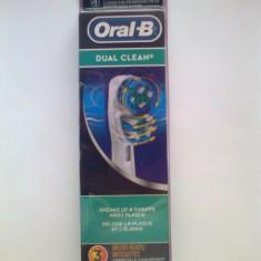 Set de 3 rezerve capete periute dinti electrica ORIGINALE DUAL CLEAN BRAUN OralB