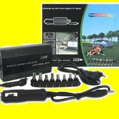 INCARCATOR LAPTOP UNIVERSAL 120 W casa & AUTO Asus hp Dell Samsung Acer etc