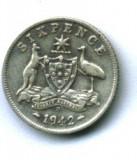 AUSTRALIA 6 SIX PENCE 1942 LITERA D ARGINT STARE EXCELENTA