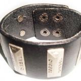 Bratara din piele neagra decor Diesel BI046