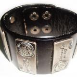 Bratara din piele neagra cu decor placute Diesel BI043